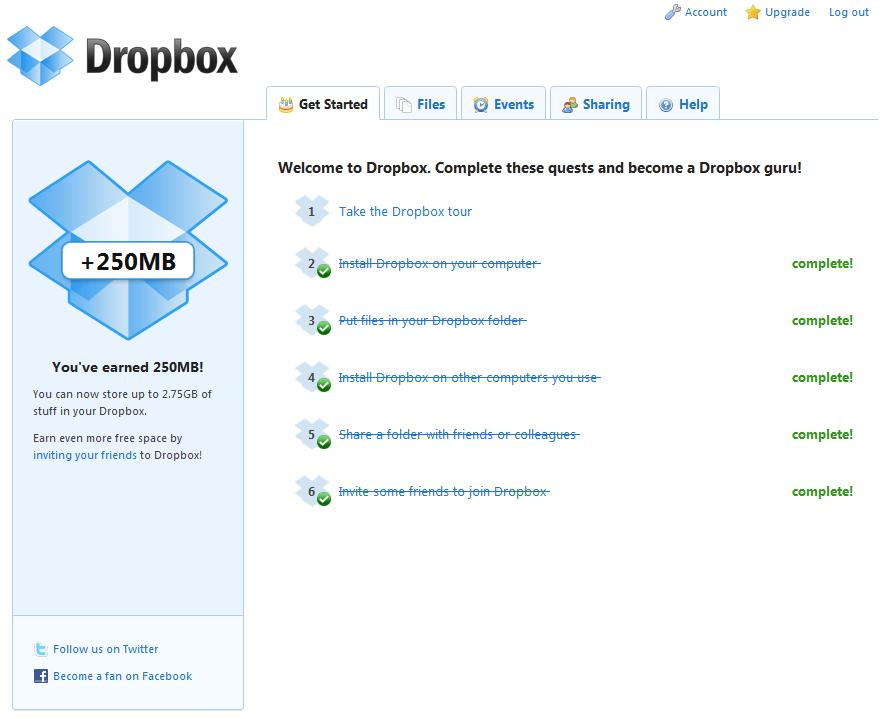 Dropbox.com - główny ekran