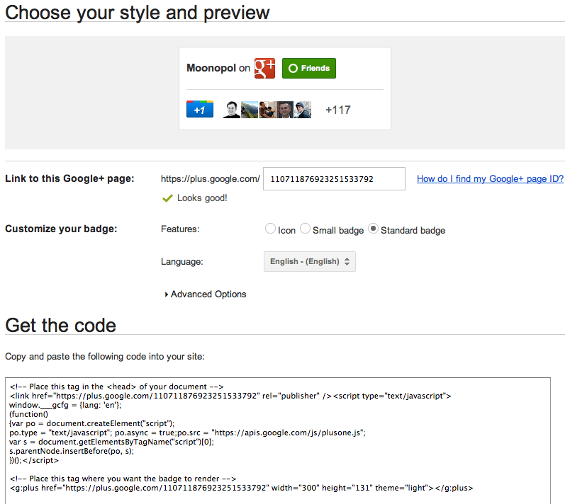 google+ page badge (4) Choose opitions - get code.