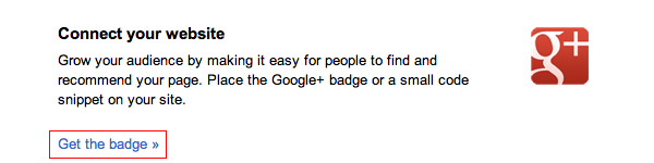 google+ page badge (3) click Get the badge