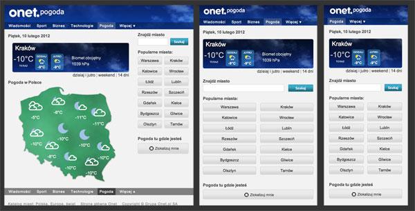 Pogoda w mobilnym Onet m.onet.pl/pogoda